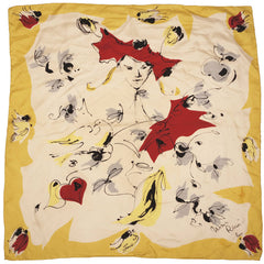 Vintage 1950s Nina Ricci Paris Silk Scarf Autumn Leaves - Poppy's Vintage Clothing