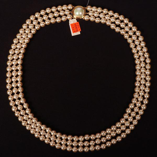Excellent Nina Ricci 3 Strand Faux Pearl Necklace Unused FY73