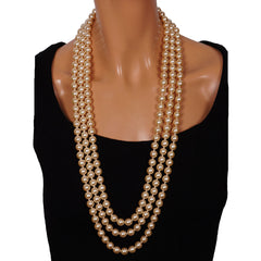 Nina Ricci 3 Strand Faux Pearl Necklace Unused - Poppy's Vintage Clothing