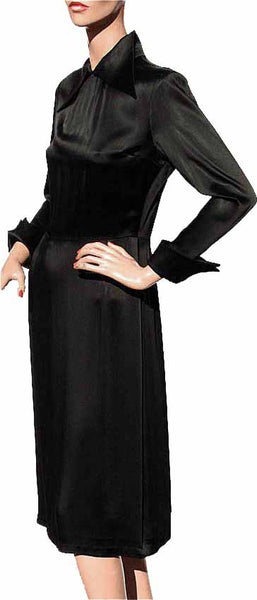 1960s Nina Ricci Black Satin Dress