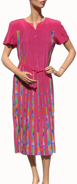 Nipon Womens Pink Silk Pleated Dress - Poppy's Vintage Clothing