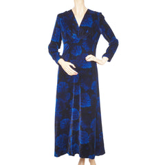 Vintage 1970s Blue Velvet Dress by Norbert Carlin Vienna Montreal Size M - Poppy's Vintage Clothing