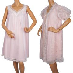 Vintage Norman Hartnell Nightie Peignoir Set White Lace & Pink Nylon 1960s - Poppy's Vintage Clothing