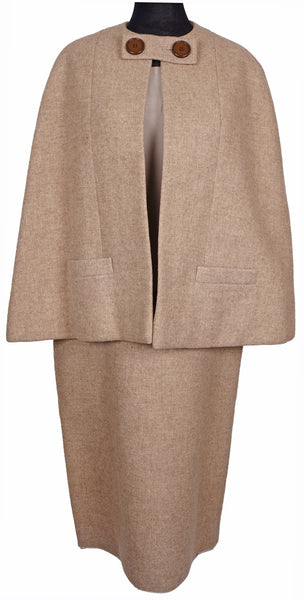 60s Vintage Cape Suit by Norman Norell New York Couture in Tan Wool - Poppy's Vintage Clothing