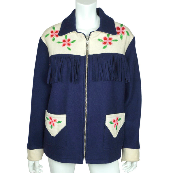 Vintage Canadian Indian Beaded Jacket Wool Coat First Nations - Poppy's Vintage Clothing