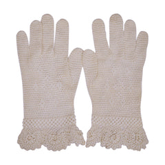 Vintage Crochet Gloves Off White Hand Made Ladies Size Small - Poppy's Vintage Clothing