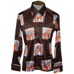 Vintage Mens 70s Shirt Disco Party NWOT Novelty Print Jersey Size L - Poppy's Vintage Clothing