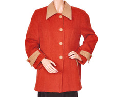 Ladies Wool Outer Jacket Rust Orange & Tan - Alpaca International Wool - L 44 - Poppy's Vintage Clothing