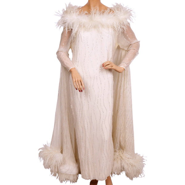Vintage 1960s White Chiffon Evening Gown with Ostrich Feather Trim and Silver Sparkles - Poppy's Vintage Clothing