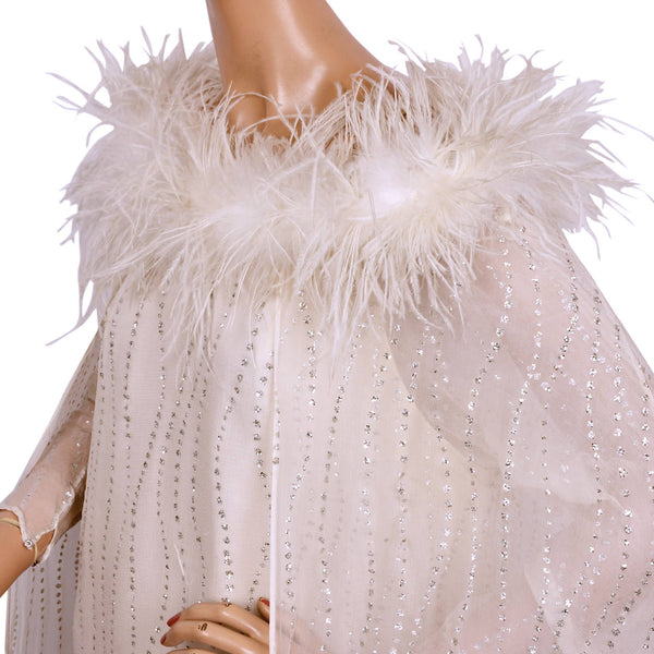 Vintage 1960s White Chiffon Evening Gown with Ostrich Feather Trim and