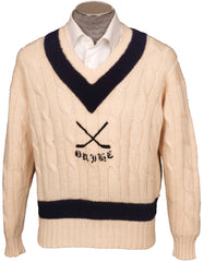 Oxford University Ice Hockey Club Sweater Cricket Style White Pure Wool England Mens Size 44 L - Poppy's Vintage Clothing