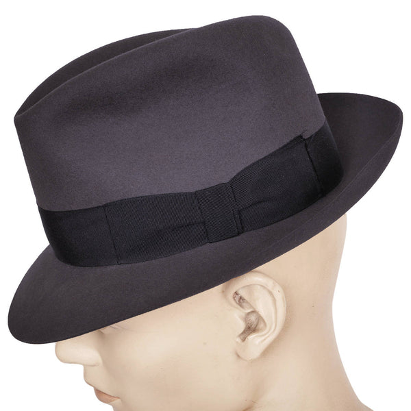 Vintage P and C Habig Fedora 1950s Mens Grey Hat Austria Size Medium 7 1/8 - Poppy's Vintage Clothing