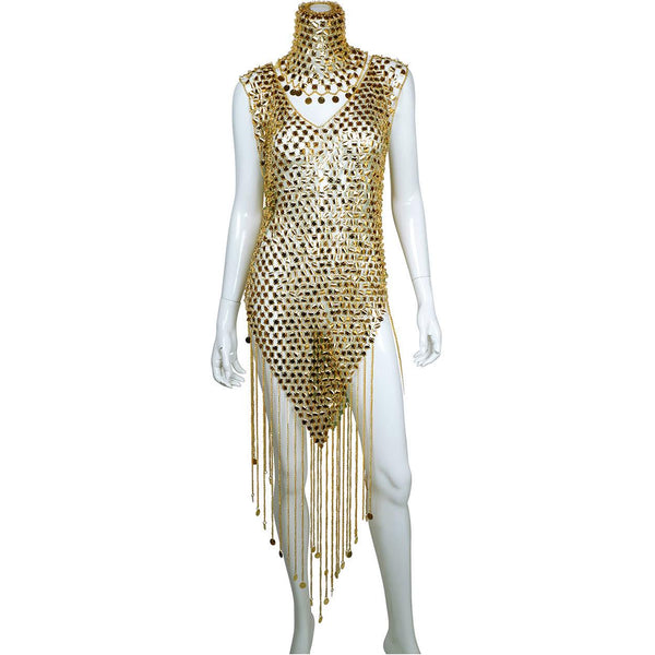 Vintage 1970s Paco Rabanne Space Age Chainmail Dress with Matching Hat - Poppy's Vintage Clothing