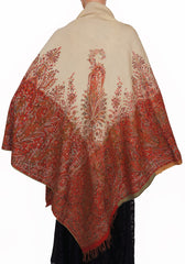 Victorian Paisley Shawl Jacquard Fabric Ivory Red & Green Wool Scarf - Poppy's Vintage Clothing