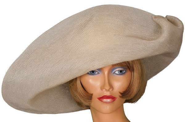 1970s Vintage Hat by Patricia Underwood New York - Off-white and Pale Grey Straw - Poppy's Vintage Clothing