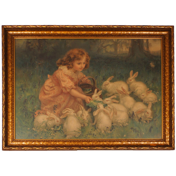 Antique-Pears-Soap-Chromolitho-Print-Girl-Feeding-Rabbits