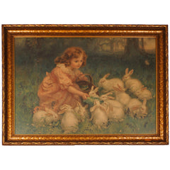 Antique Pears Soap Chromolitho Print Girl Feeding Rabbits 1904 - Poppy's Vintage Clothing