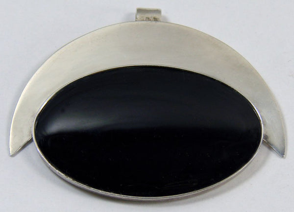 Modernist Sterling Silver & Black Onyx Pendant - Poppy's Vintage Clothing