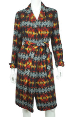 Pendleton Dressing Gown Aztec Indian Southwestern Indigenous Blanket Pattern L - Poppy's Vintage Clothing