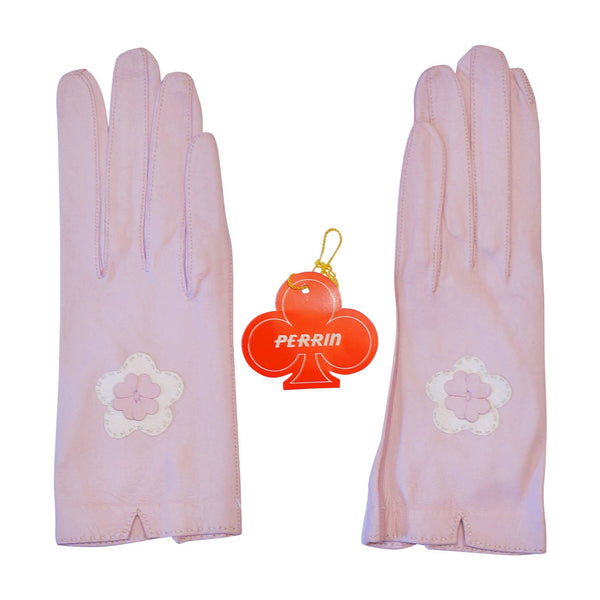 Vintage Unused Perrin Pink Kid Leather Gloves Made in France Ladies Size 7 - Poppy's Vintage Clothing