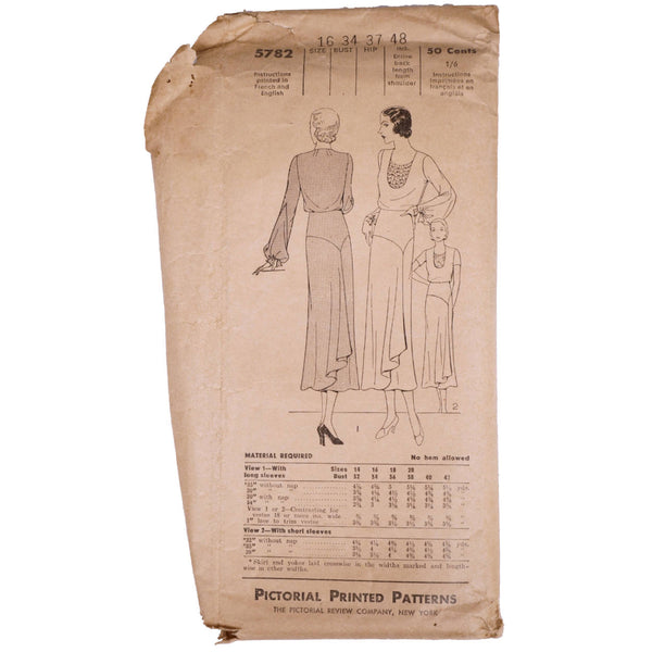 Vintage 1931 Pictorial Review Printed Pattern Ladies Dress 5782 Complete Size 16 - Poppy's Vintage Clothing