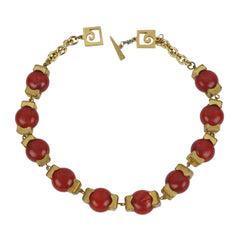 Vintage Pierre Cardin Modernist Necklace Red Plastic w Gold Tone Brass 1960s - Poppy's Vintage Clothing