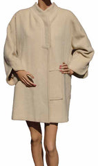 60s Vintage Coat by Pierre Cardin Asymmetrical Space Age Design in Off-White Wool - Poppy's Vintage Clothing