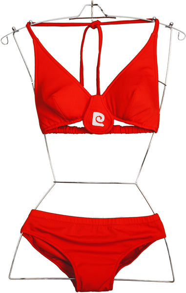Vintage 1970s Pierre Cardin Logo Bikini Red Two Piece Bathing Suit Size 8 - Poppy's Vintage Clothing