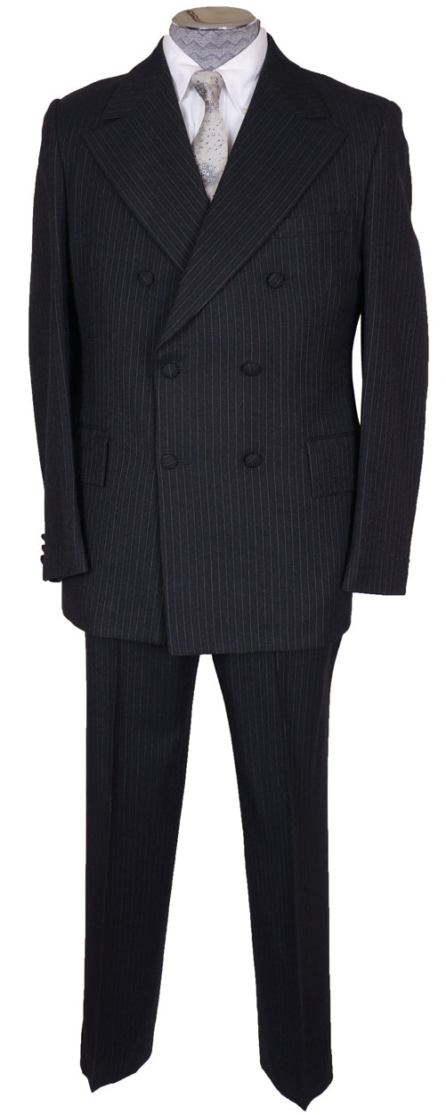 Vintage 1960s Mod Mens Pin Striped Wool Suit Dandy Double Breasted M