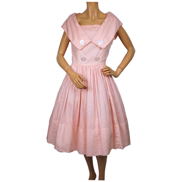 Vintage 1950s Pink Cotton Day Dress Size S M - Poppy's Vintage Clothing