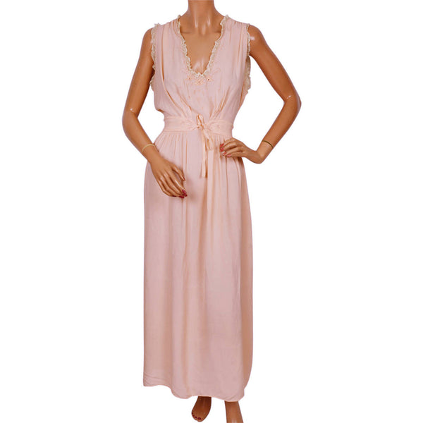 Vintage Nightie 1940s Pink Rayon Nightgown w Floral Embroidery Size Large - Poppy's Vintage Clothing