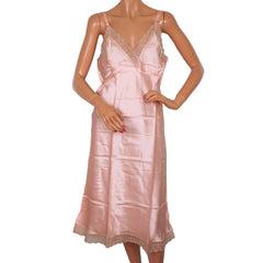 Vintage 1940s Pink Satin Slip with Lace Trim Size M Excellent Condition - Poppy's Vintage Clothing