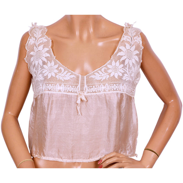 Antique Pink Silk and Lace Camisole Top Size Medium - Poppy's Vintage Clothing