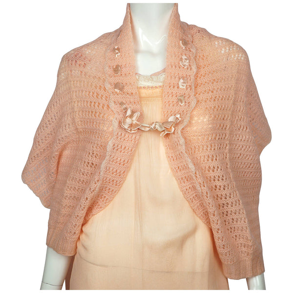 Vintage 1930s Bed Jacket Cape Shrug Hand Knit Pink Wool - Poppy's Vintage Clothing