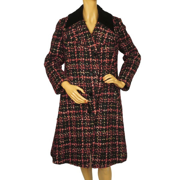 Vintage 1960s 70s Tweed Wool Coat Red Black & White Ladies Size M - Poppy's Vintage Clothing