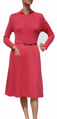 1970s Dress Shocking Pink Wool Knit - Poppy's Vintage Clothing