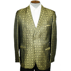 Vintage 1960s Gold Lame Brocade Tuxedo Dinner Jacket Mens Size Medium - Poppy's Vintage Clothing