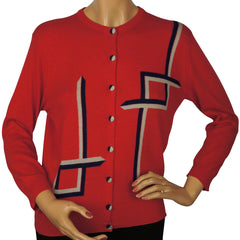 Vintage 1950s Pringle Scottish Cashmere Sweater Red Intarsia Cardigan Ladies M - Poppy's Vintage Clothing