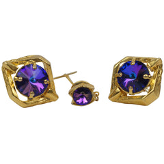 Vintage Purple Rivoli Rhinestone Cufflinks Gold Setting - Poppy's Vintage Clothing