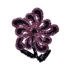 Vintage Sequin Applique Purple and Black Flower 1940s Hand Sewn Unused NOS - Poppy's Vintage Clothing