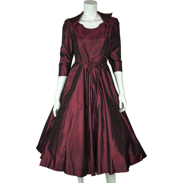1950s-Purple-Silk-Taffeta-Party-Dress