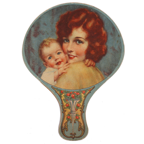 1920s Quebec Rubber Tire Advertising Fan Mother and Child Illustration - Poppy's Vintage Clothing