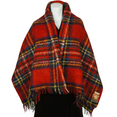 Vintage 50s Royal Stewart Tartan Scottish Mohair Throw Shawl - Poppy's Vintage Clothing