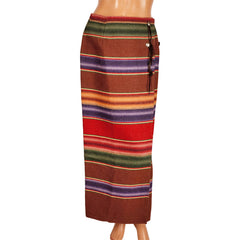 Vintage Ralph Lauren Country Label Wraparound Maxi Skirt Southwestern Blanket Size M 8 - Poppy's Vintage Clothing