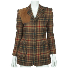 Lauren by Ralph Lauren Plaid Jacket Hunting Blazer Green Label Ladies Size 4