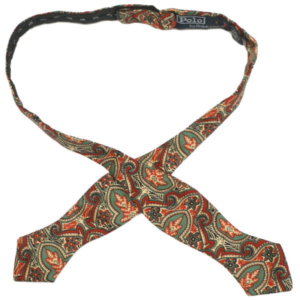 Vintage Ralph Lauren Polo Silk Paisley Bow Tie Made in USA 1980s One Size - Poppy's Vintage Clothing