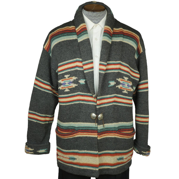Vintage Ralph Lauren Southwestern Coat Sweater Serape Indian Blanket USA Mens L - Poppy's Vintage Clothing