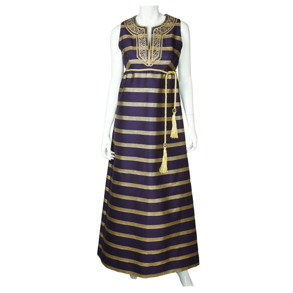 Vintage 1960s Purple Silk Metallic Gold Evening Gown Goddess Dress Rappi Size M - Poppy's Vintage Clothing