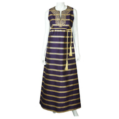 1960s-Rappi-Metallic-Gold-Purple-Evening-Gown