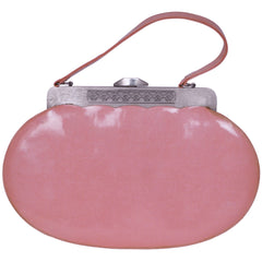 Vintage 1950s Pink Vinyl Handbag Purse 50s Color and Style - Poppy's Vintage Clothing